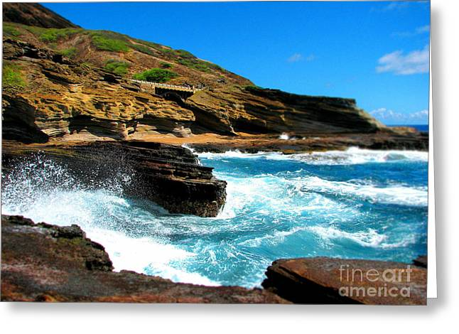 Greeting Card featuring the photograph Waves Crashing by Kristine Merc