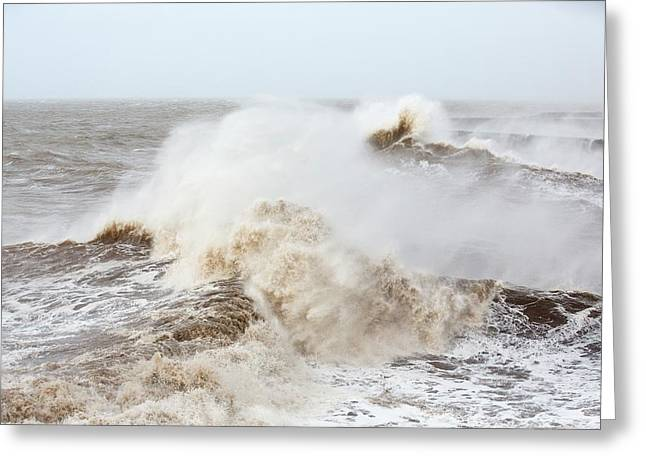 Waves Crashing Off Whitehaven Harbour Greeting Card by Ashley Cooper