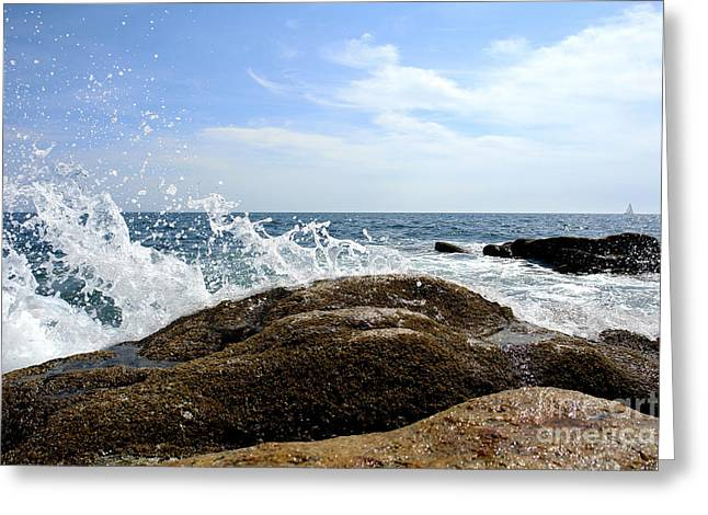 Waves Crashing Greeting Card by Olivier Le Queinec