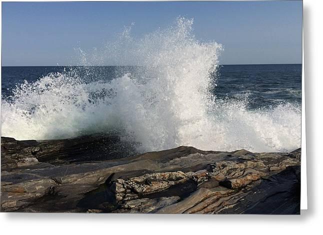 Waves Crashing On Rocky Maine Coast Greeting Card