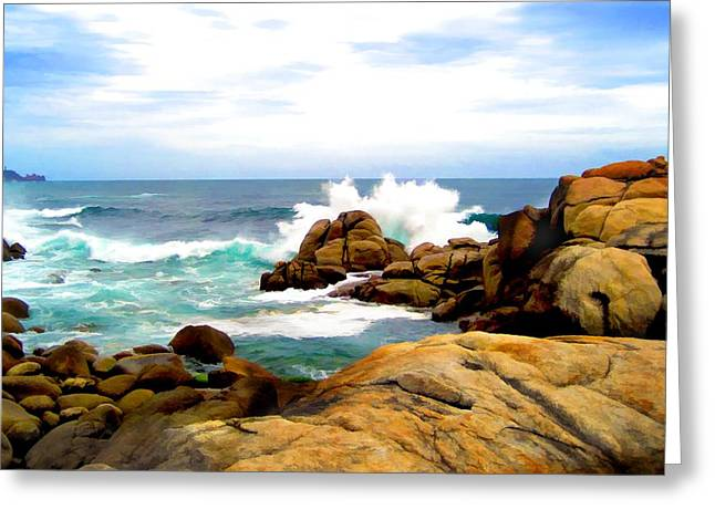 Waves Crashing On Shoreline Rocks Greeting Card