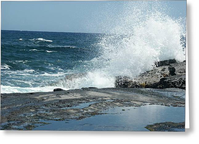 Waves Crashing On The Forbidden Isle Greeting Card by Kai Hyde