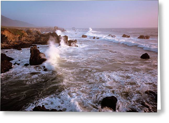 Waves Crashing On The Rugged Big Sur Greeting Card by Greg Probst
