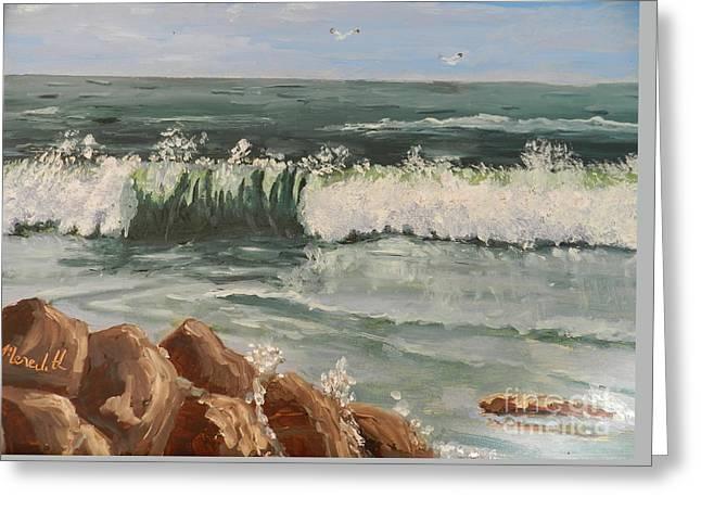Waves Crashing Greeting Card by Pamela  Meredith