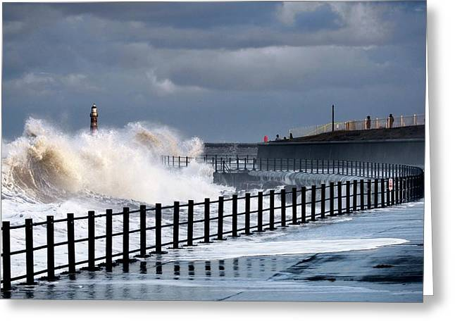 Waves Crashing, Sunderland, Tyne Greeting Card