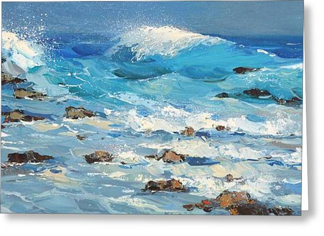 Greeting Card featuring the painting Waves by Dmitry Spiros