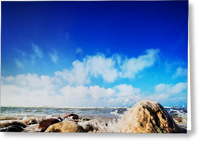 Waves Hiting Rocks On The Sunny Beach Greeting Card by Michal Bednarek