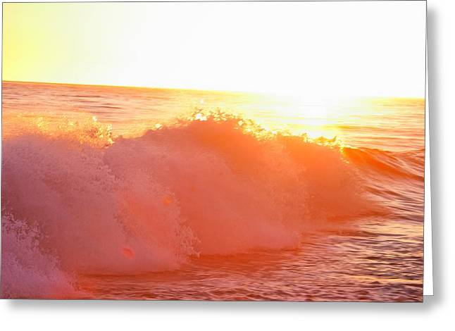 Waves In Sunset Greeting Card