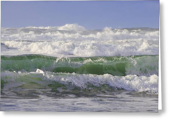 Waves In The Sun Greeting Card by Adria Trail