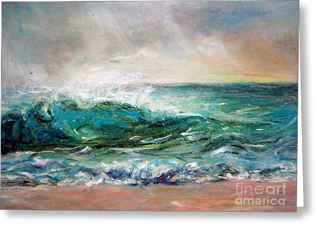 Greeting Card featuring the painting Waves by Jieming Wang
