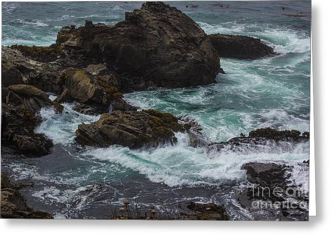 Waves Meet Rock Greeting Card