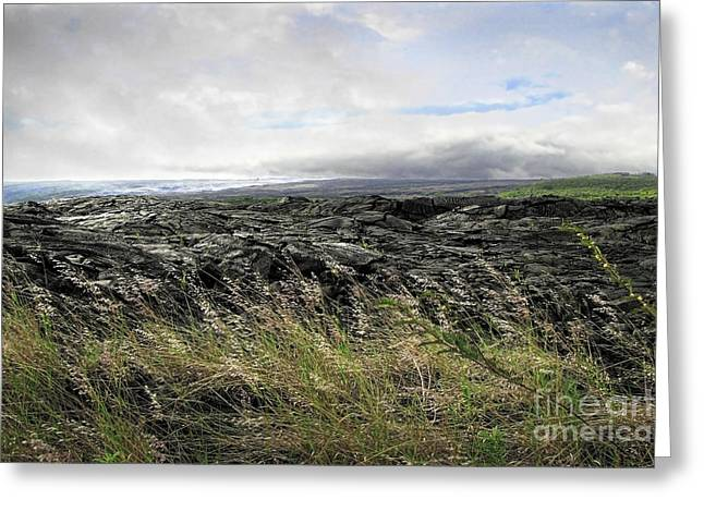Greeting Card featuring the photograph Waves Of Clouds Sea Lava And Grass by Ellen Cotton