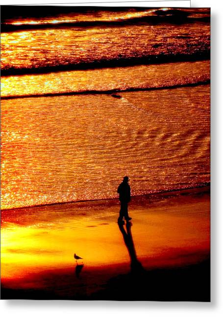 Waves Of Gold Greeting Card by Karen Wiles
