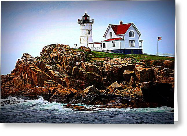 Waves On The Nubble 2 Greeting Card