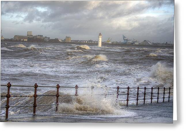 Waves On The Slipway Greeting Card
