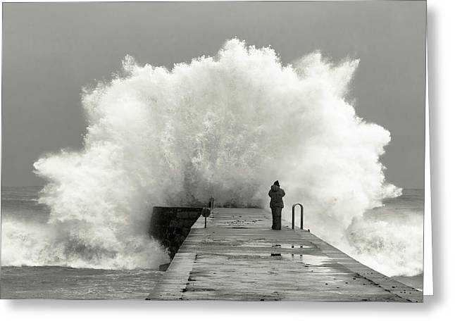 Waves Photographer Greeting Card by Mikel Lastra