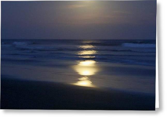 Waves Reflecting Moon Greeting Card by Amanda Holmes Tzafrir