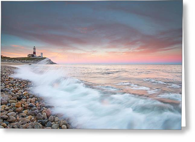 Waves Wash Over Cobbles In Front Greeting Card