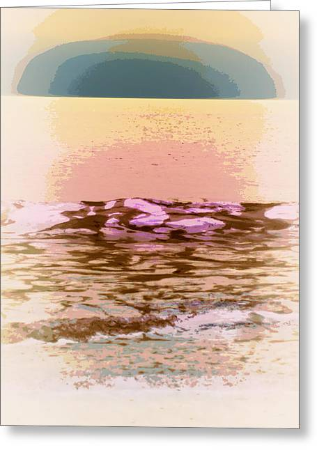 Waves With Sunset Greeting Card