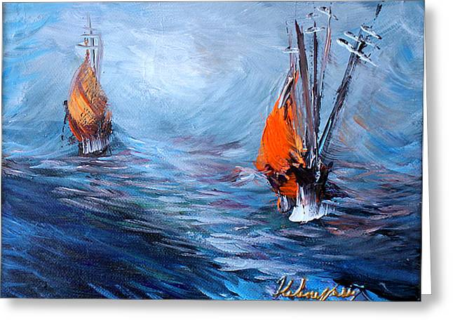 Wavy Sea Greeting Card by Helene Khoury Nassif