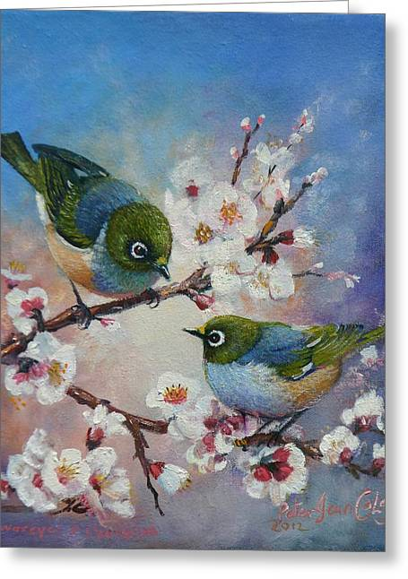 Wax Eyes On Blossom Greeting Card by Peter Jean Caley