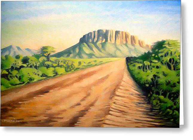 Greeting Card featuring the painting Way To Maralal by Anthony Mwangi