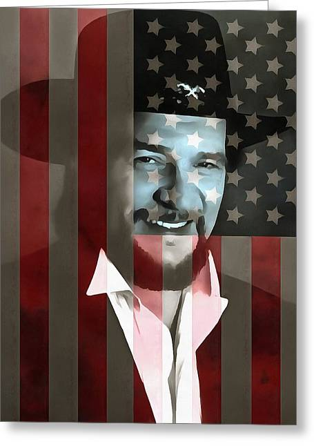 Waylon Jennings American Outlaw Greeting Card by Dan Sproul
