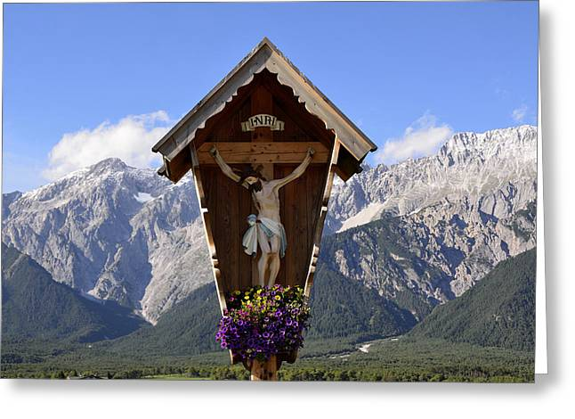 Wayside Cross In Alps Greeting Card