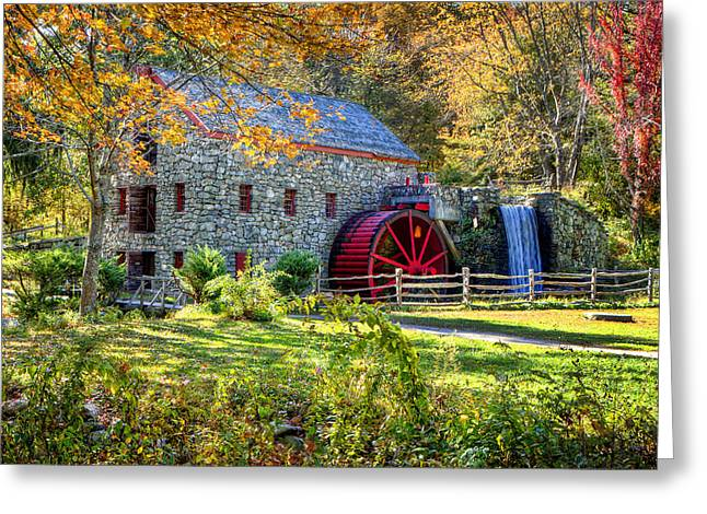 Wayside Inn Grist Mill Greeting Card by Donna Doherty
