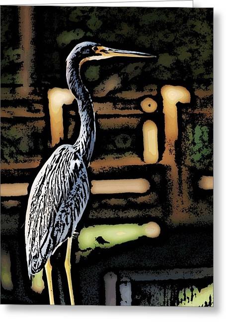 Greeting Card featuring the digital art Wc Great Blue by David Lane