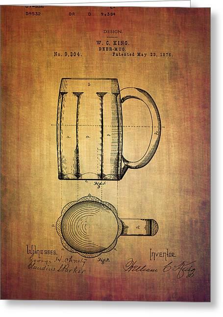 W.c.king Beer Mug Patent From 1876 Greeting Card by Eti Reid