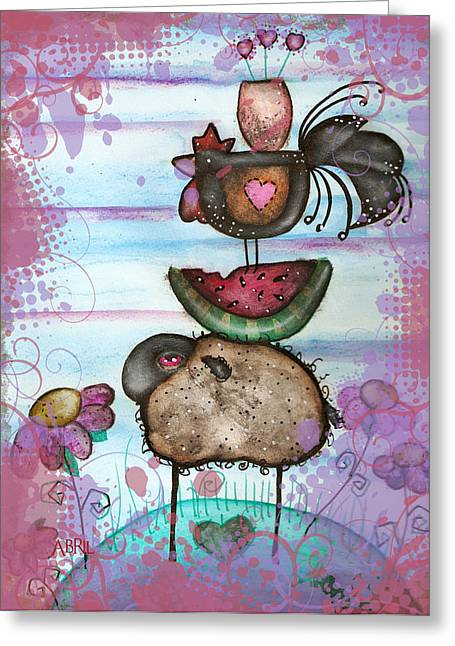 we are all Friends here Greeting Card by  Abril Andrade Griffith