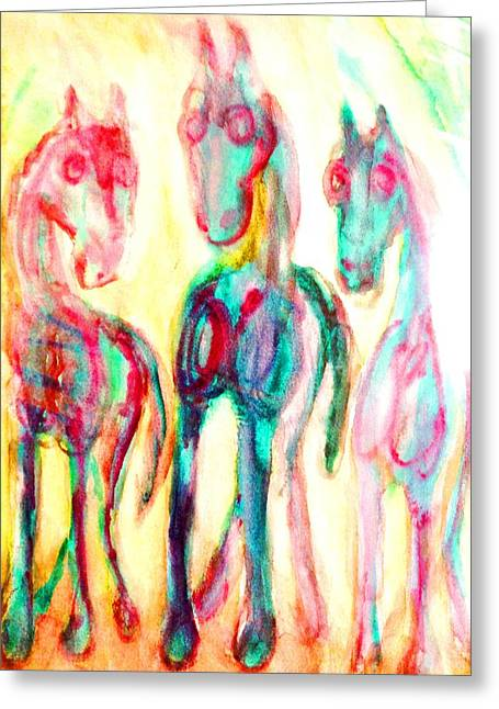 We Are Playing The Three Wise Men Greeting Card by Hilde Widerberg