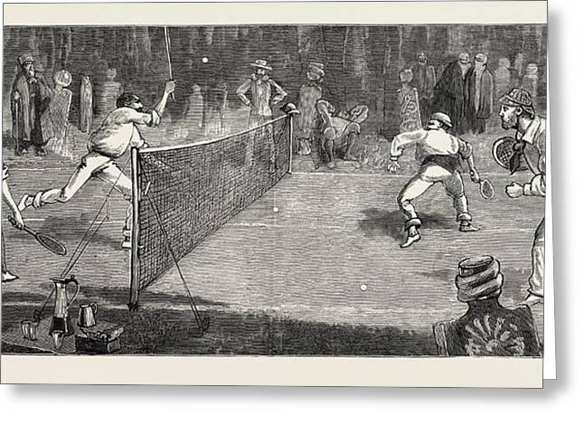 We Find A Jolly Place In The Cemetery Fur Lawn-tennis Greeting Card