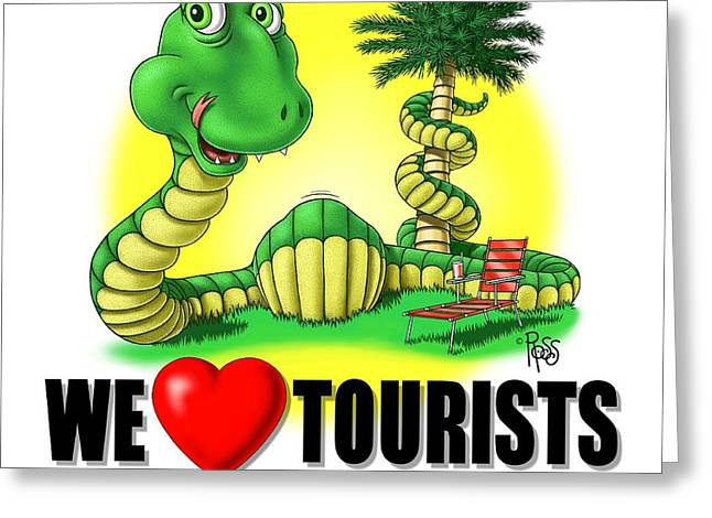 Greeting Card featuring the digital art We Love Tourists Snake by Scott Ross
