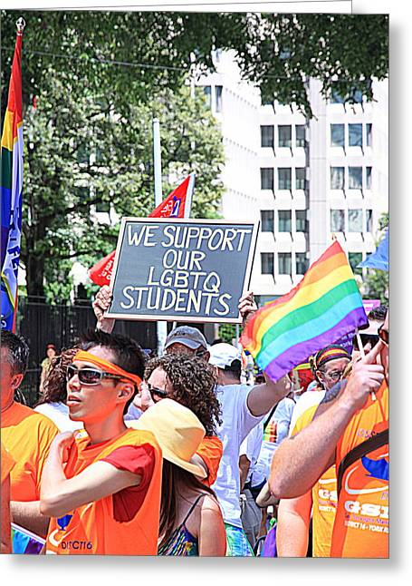 We Support Our Lgbtq Students Greeting Card by Valentino Visentini