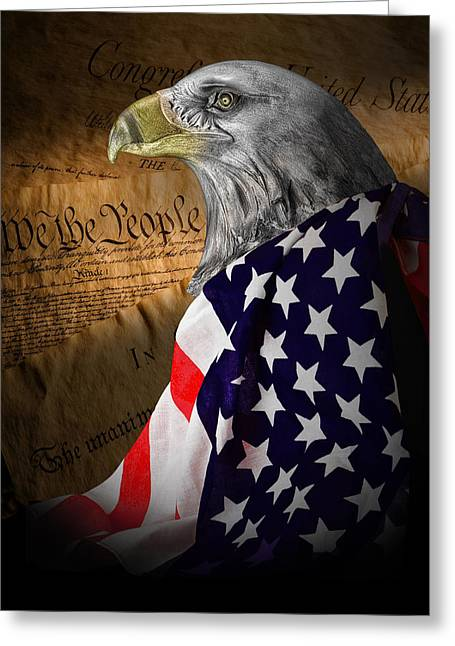 Eagles Greeting Cards - We The People Greeting Card by Tom Mc Nemar