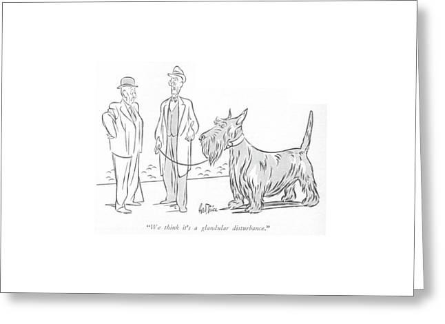 We Think It's A Glandular Disturbance Greeting Card by George Price