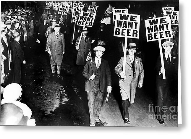 We Want Beer Greeting Card by Jon Neidert