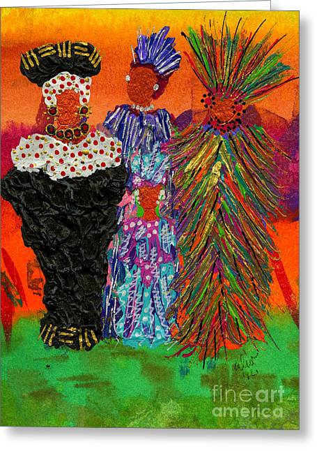 Greeting Card featuring the painting We Women Folk by Angela L Walker
