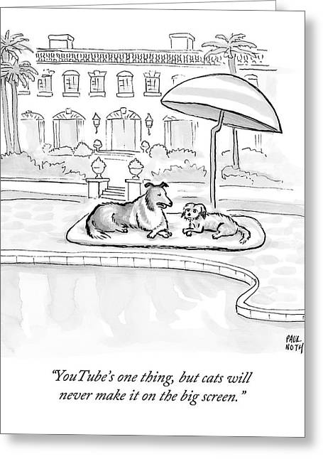 Wealthy Dogs Discuss Cats In Hollywood Greeting Card