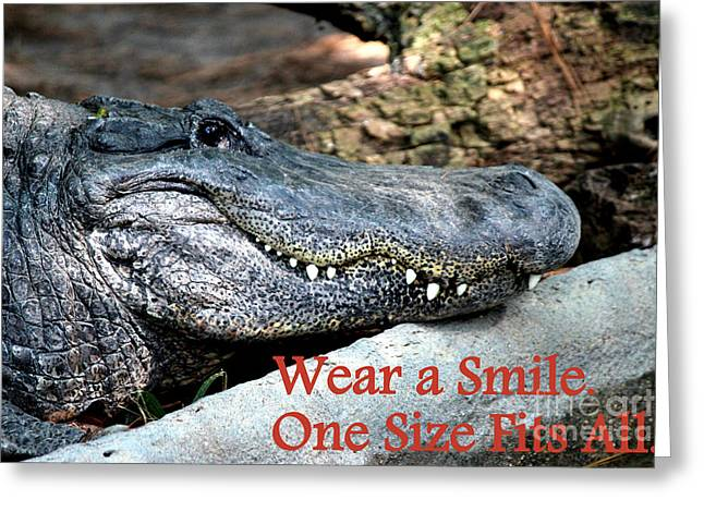 Wear A Smile/smiling Alligator Greeting Card by Kathy  White