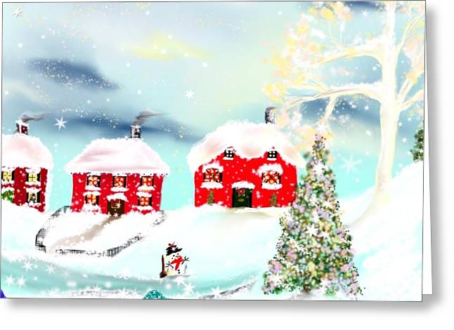 Greeting Card featuring the painting Wear Those Hats And Mittens by Lori  Lovetere