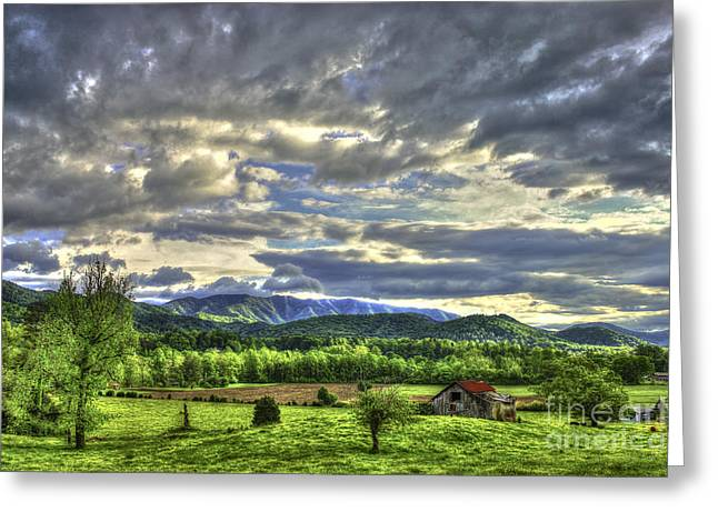 Wears Valley Barn Great Smokey Mountains Greeting Card by Reid Callaway