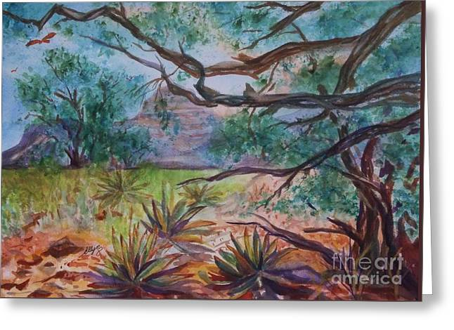 Weathered Branches And Yuccas In Red Rock Country Greeting Card by Ellen Levinson