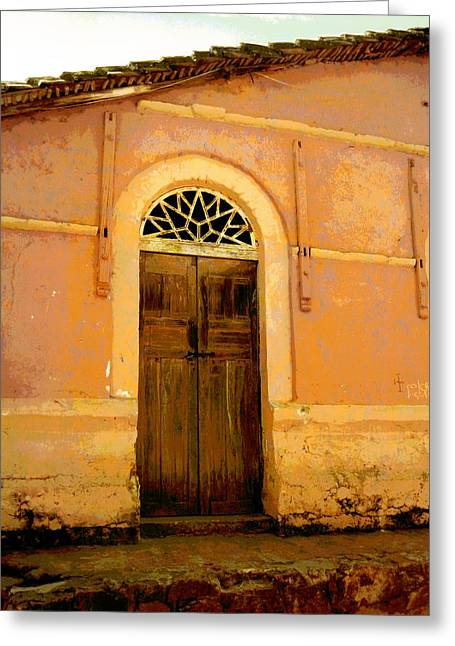 Weathered Door Mexico Greeting Card by Ann Powell