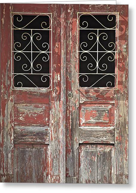 Weathered Red Wood Rustic Door With Peeling Paint Greeting Card by David Letts