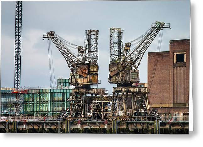 Weathered Rusty Coal Cranes Greeting Card by Semmick Photo