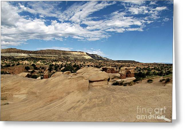 Devil's Garden - Weathered Sandstone And Straight Cliffs Greeting Card