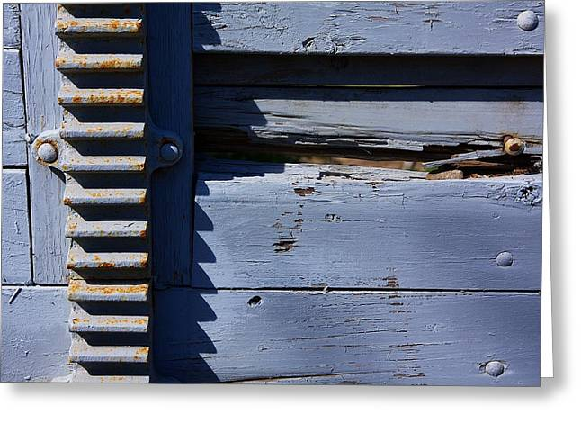 Weathered Wood And Metal Railing Greeting Card by Stuart Litoff